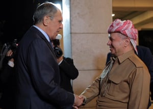 Arbil, IraqMasoud Barzani, leader of the Kurdistan Democratic Party (KDP), welcomes Russian Foreign Minister Sergei Lavrov ahead of their meeting in the capital of the northern Iraqi Kurdish autonomous region