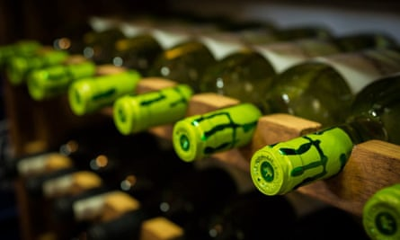 Bottles of wine in racks at El Rinconcito de Hilario, Las Zocas, Tenerife.