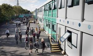 Kensington Aldridge academy's temporary Portakabins