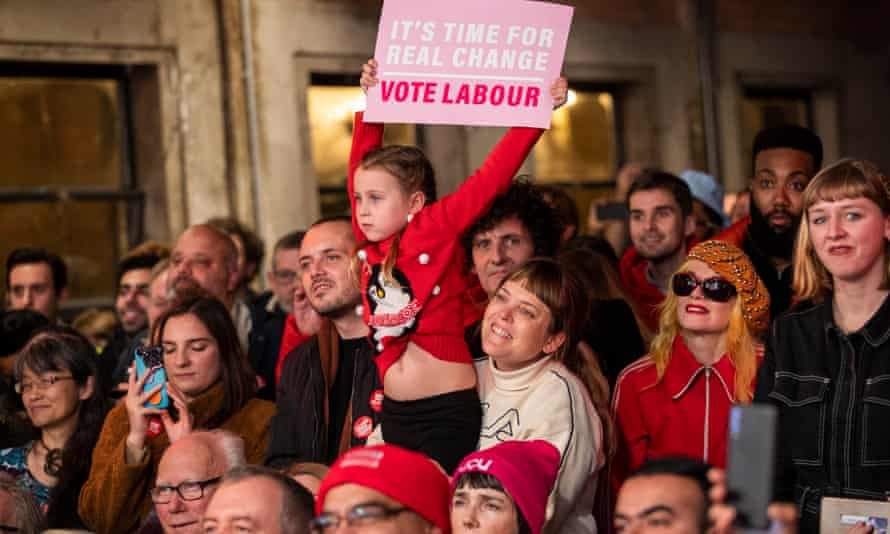 The next generation … Labour supporters in Hackney, East London.