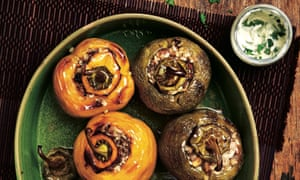 Photograph of Yotam Ottolenghi's peppers stuffed with lamb and rice.