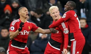 Will Hughes celebrates scoring Watford's first goal against Newcastle.