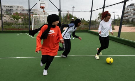 Les Hijabeuses training at Montreuil football pitch, in the eastern suburbs of Paris.