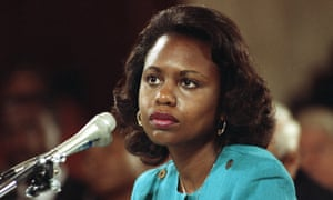 Anita Hill testifies to the Senate judiciary committee in October 1991. The spectacle of 14 white men questioning a black woman proved a stark symbol of the lack of female representation in US politics.