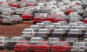 Cars at a Volkswagen plant in Puebla, Mexico