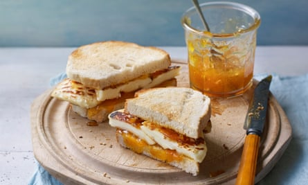 Halloumi and apricot jam sandwich by Georgina Hayden. Prop styling Kate Whitaker. Food styling India Whiley-Morton.