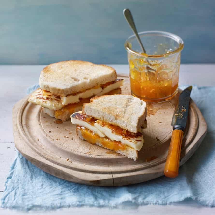 Halloumi and apricot jam sandwich by Georgina Hayden.