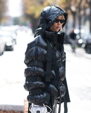 Fashion blogger Vanessa Hong in aMoncler jacket.