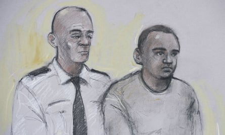Artist's drawing of Zakaria Bulhan in court.