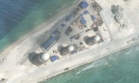 Construction on Fiery Cross Reef, in the Spratly Islands, shown in 9 March satellite image released by the Asia Maritime Transparency Initiative