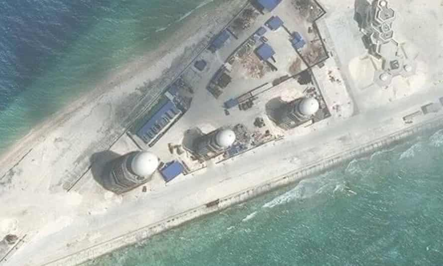 Chinese construction is shown on Fiery Cross Reef, in the Spratly Islands, in the disputed South China Sea in a photo taken in 2017.