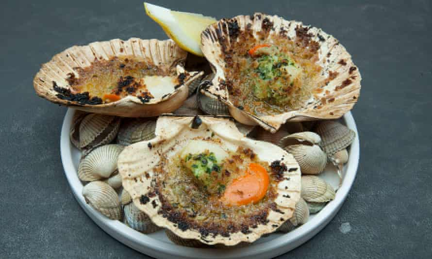 'Drenched gleefully in wild garlic-flecked butter': scallops.