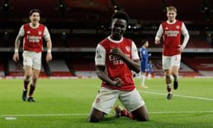 Bukayo Saka of Arsenal celebrates after scoring to make it 3-0.
