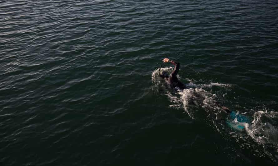Benoit Lecomte swimming