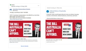 Comparison of a Facebook ad running on the Liberal party page and the Australian Conservative's Victorian division page