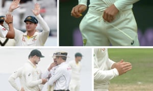 Steve Smith, Cameron Bancroft and a small yellow object.