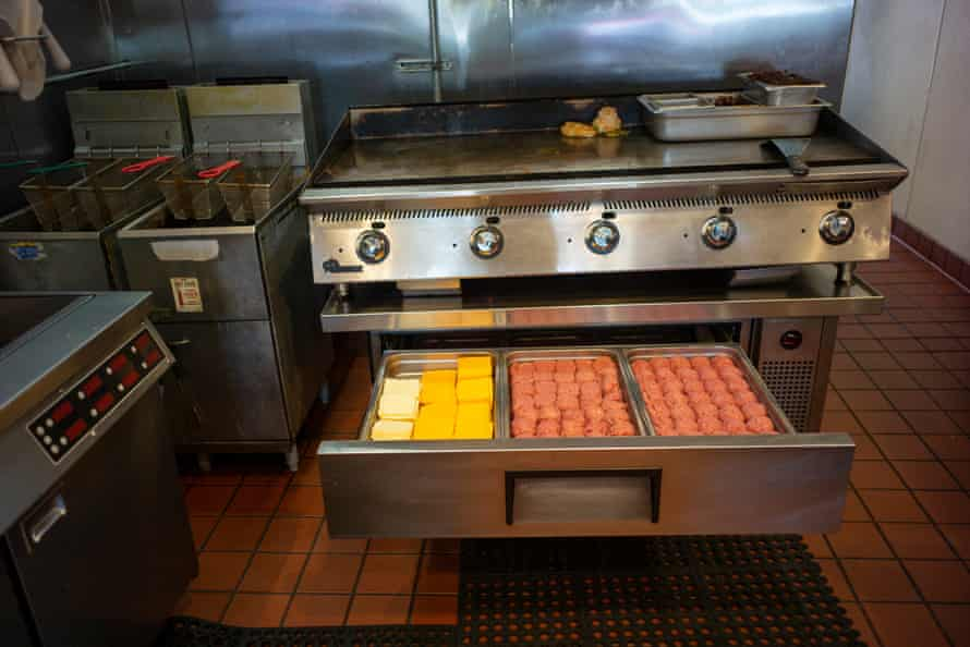 Preparations for burger-making at Malibu's Burgers.
