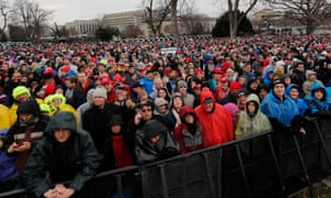 Crowds on the National Mall await Trump's swearing-in.