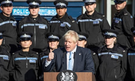Boris Johnson making a speech in front of police in West Yorkshire.