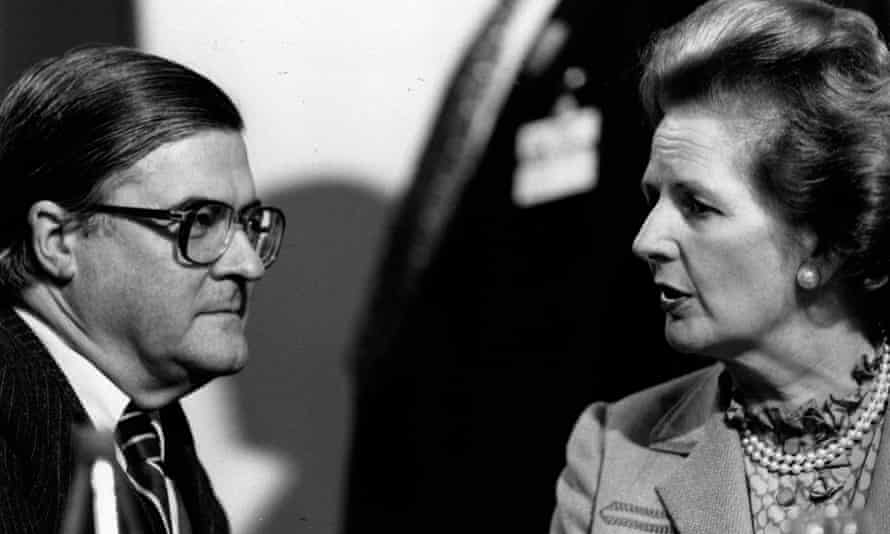 Conservative politician Kenneth Baker with Prime Minister Margaret Thatcher at the party conference in Blackpool in 1986.