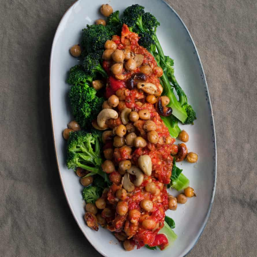 Roast pepper hummus with purple sprouting broccoli
