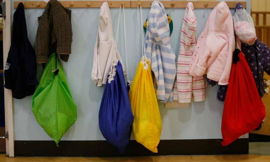 Children's jackets on coat pegs