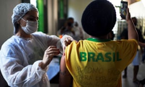 A vaccination site at the Ilha Grande island, in Rio de Janeiro state, yesterday.