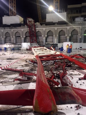 A massive construction crane crashed into the Grand Mosque in stormy weather, killing at least 87 people and injuring 184.