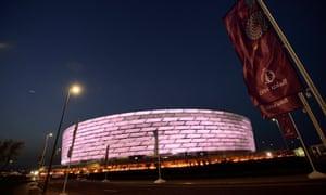 The Olympic Stadium in Baku, Azerbaijan, is hosting the Europa League final. It has a capacity of 68,700.