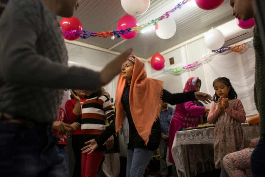A party at the Katsikas refugee camp in Greece