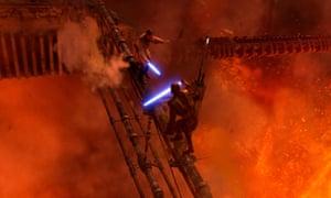 Hayden Christensen and Ewan McGregor in a scene from Star Wars Episode III Revenge of the Sith.