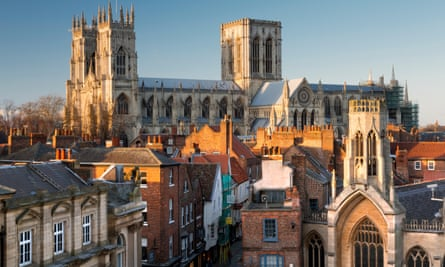 York Minster, and Stonegate at dusk, North Yorkshire, England