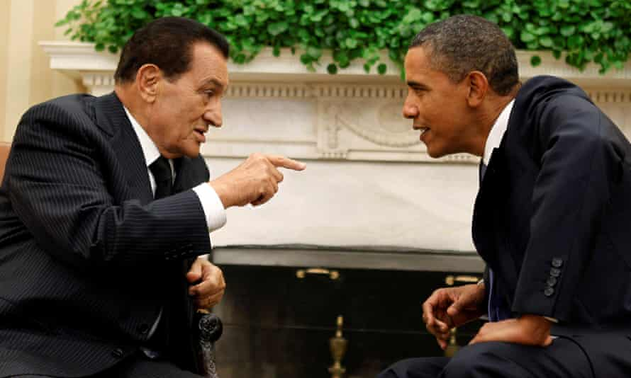 Mubarak speaking to Barack Obama in the Oval Office of the White House in Washington in 2010.