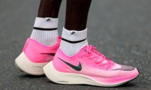 An athlete at the Dubai Marathon wears a pair of Nike Vaporfly.