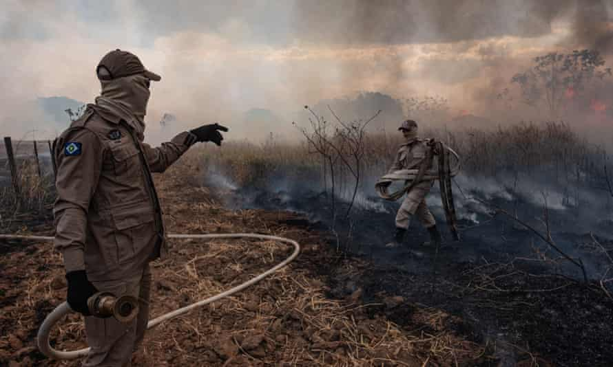 Firefighters at work in Mato Grosso in the Amazon basin, Brazil.
