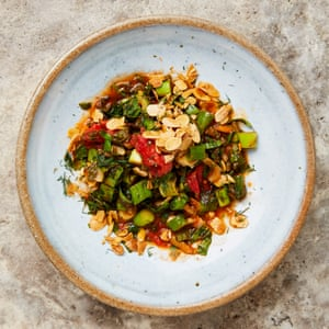 Yotam Ottolenghi's tomato, chard and spinach with fried almonds.