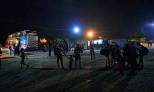Migrants in Magyarkanizsa, Serbia, on their way to Hungary
