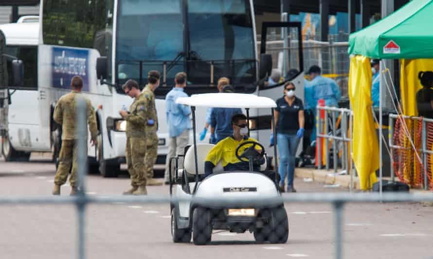 Cruise ship coronavirus evacuees arrive in Darwin.