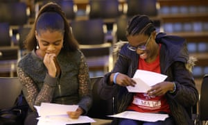 Students collecting their GCSE results at a south London school last year.