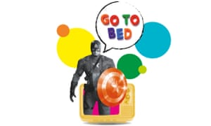 Illustration of super hero with Go To Bed in speech bubble