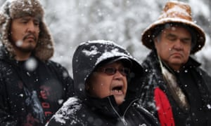 Unist'ot'en Chief Doris Rosso speaks to supporters of the anti-pipeline camp and Wet'suwet'en people at a checkpoint near Houston, British Columbia.