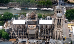 An aerial picture taken in June last year showing the damage to Notre-Dame in Paris, including the loss of its 19-century spire.