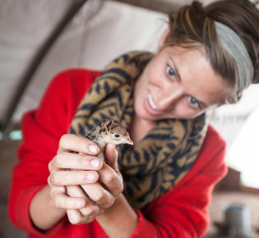 Miche Ide holds a chick at her farm in Washington.