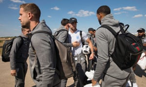 England's players say their goodbye's to each other after touching down at Birmingham airport on Sunday.
