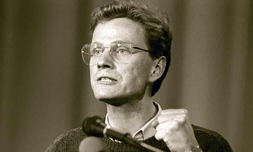 A young Westerwelle speaks at the party convention of the Free Democratics in Hanover.