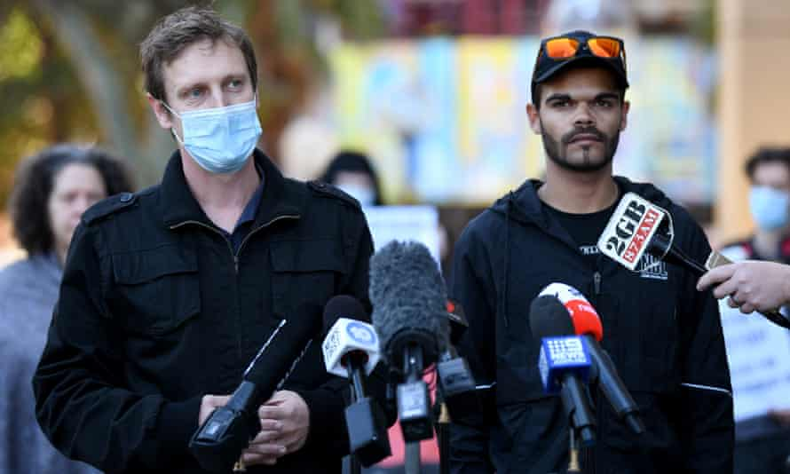 Black Lives Matter protest organiser Paddy Gibson and Paul Francis, a nephew of David Dungay Jr, speak to the media