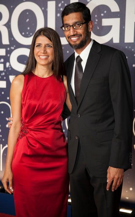 Google CEO Sundar Pichai with his wife Anjali