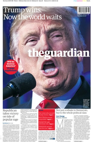 Guardian front page: 'Trump wins. Now the world waits'
