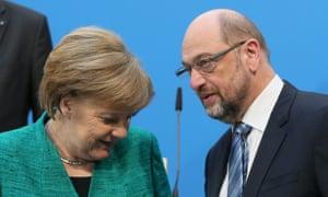 Angela Merkel and Martin Schulz in Berlin on 7 February 2018