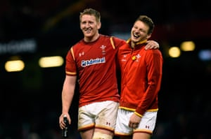 Bradley Davies, left, and Dan Biggar enjoy Wales' victory after the final whistle.